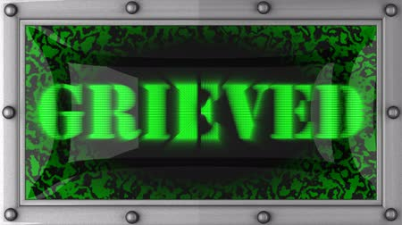grieved : grieved   announcement on the LED display Stock Footage