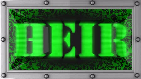 herança : heir  announcement on the LED display