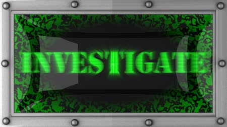 vizsgálat : investigate  announcement on the LED display Stock mozgókép