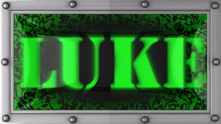 luke : luke  announcement on the LED display Stock Footage