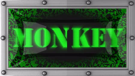 majom : monkey announcement on the LED display