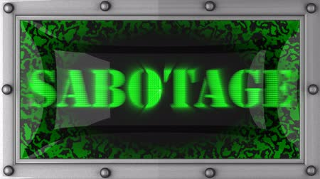 sabotage : sabotage  announcement on the LED display Stock Footage