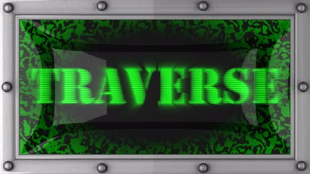 traverse : traverse  announcement on the LED display Stock Footage