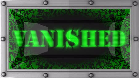 исчез : vanished  announcement on the LED display