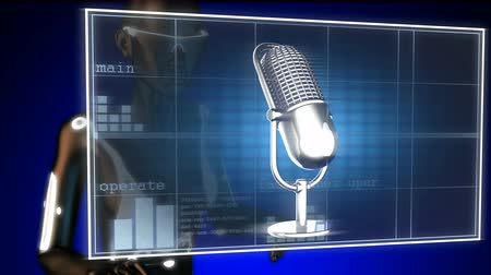 голос : Retro microphone on hologram Стоковые видеозаписи