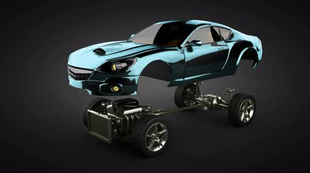 auto show : loop Car chassis with engine of luxury brandless sportcar