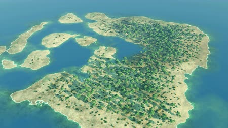 takımadalar : Aerial over a tropical archipelago during sunny day Stok Video