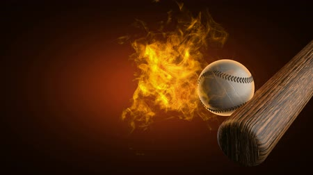 beisebol : slow motion burning baseball ball. Alpha matted Stock Footage