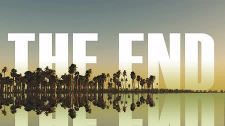 konec : the end inscription behind palm trees