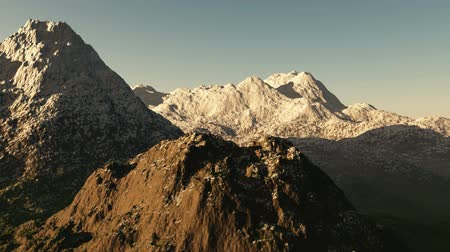 peak : Aerial shot of snowy mountain peak