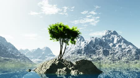 peaceful : mountain lake in Alps with tree at rocky island