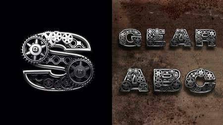 abeceda : mechanical alphabet with rotate gears. Alpha Matted