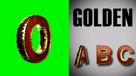 книгопечатание : rendered on green chromakey loop golden and red wood alphabet Стоковые видеозаписи