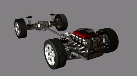 аксессуары : car chassis with engine. alpha matted