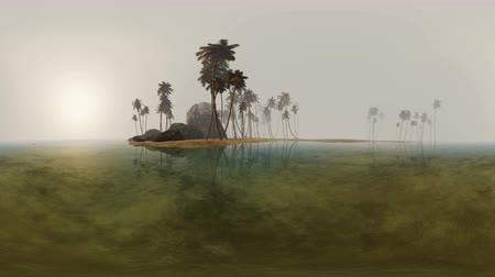 beach panorama : panorama of tropical island beach in deep fog. made with one 360 ???? degree lense on moving camera without any seams. ready for vr 360 virtual reality