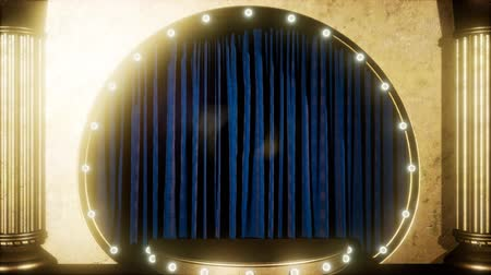 chester : curtain stage with golden podium and loop lights Stock Footage