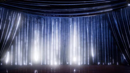 pano : curtain stage with lights Stock Footage