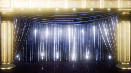 publicity : curtain stage with golden podium and loop lights Stock Footage
