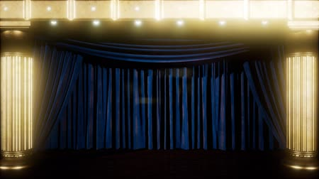decorating : curtain stage with golden podium and loop lights Stock Footage