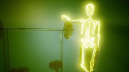 medical scan : man in gym room with visible bones