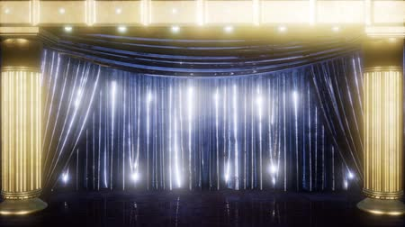 segmento : curtain stage with golden podium and loop lights Stock Footage