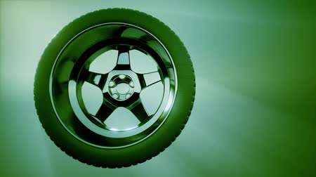 aluminium : Loop Rotate Wheel on colored background Wideo