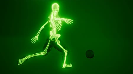 tekmeleme : soccer player with visible bones Stok Video