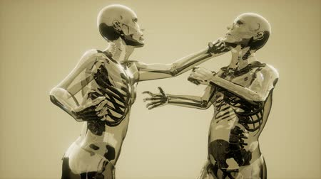 fighting men with visible bones Stock Footage