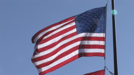 blue flag : American Flag Waving. Stock Footage