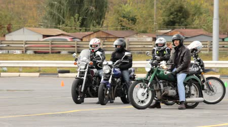 autobike : Lipetsk, Russian Federation - September 17, 2016: Competition the Moto gymkhana, motorcyclists waiting in the queue