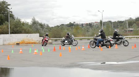 prawo jazdy : Lipetsk, Russian Federation - September 17, 2016: Competition the Moto gymkhana, Training Moto Playground, motor school exam