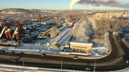 metallurgical plant : old abandoned factory in Russia, Nizhny Tagil, winter