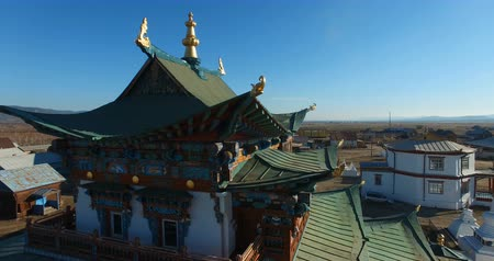 тибетский : Buddhist temple in the steppes of Buryatia on a sunny day