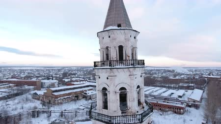 torre sineira : restoration of the old church and chapel, Sverdlovsk region, Russia, winter