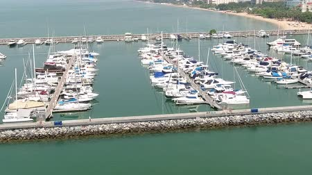 luxurious port in Pattaya, Thailand. the view from the top Stok Video