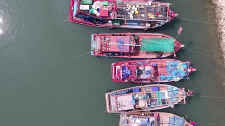 moorage : moored boats for Thai fishermen, view top