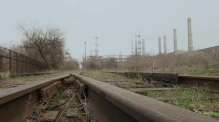 аллея : Intersection of railway rails. Against the background of power