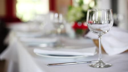 meal : Focus to serve with wine glasses on celebratory table Stock Footage