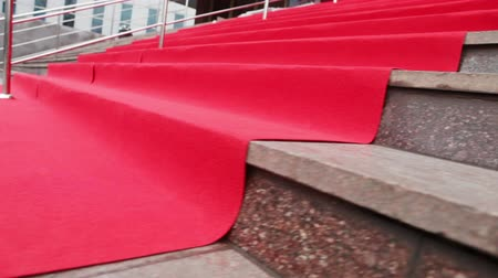 entrance : Stage and spread out red carpet Stock Footage