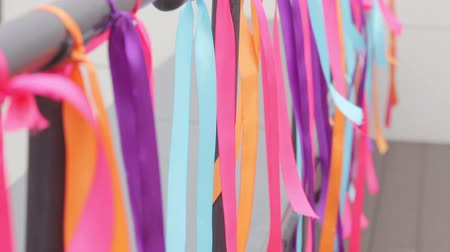 dekoracje : Holiday decoration on multicolored ribbons Wideo