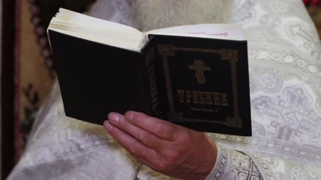 pleading : Priest holding an open Bible and praying