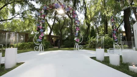 reception : Design elements of a wedding ceremony with sunlight Stock Footage
