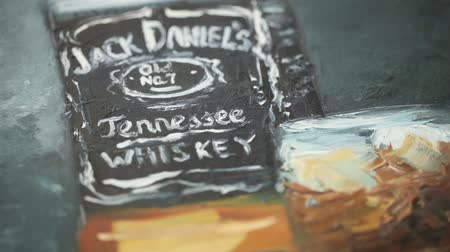 viski : Parts of picture with whiskey, painted with oil paints