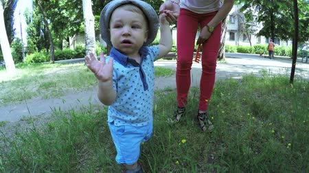 step : Nature baby boy learning to first steps Stock Footage
