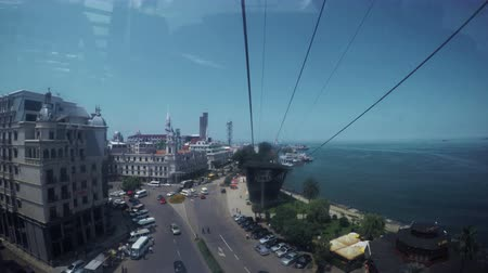 kabely : View part of port of Batumi from moving cable car