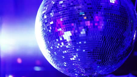 disko : Rotating mirror disco ball in restaurant Stok Video