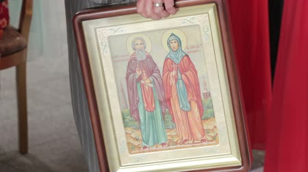 iconography : Orthodox icons wedding Stock Footage