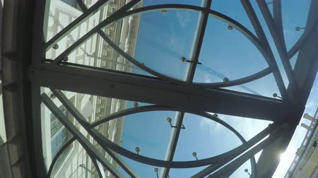 limpid : Transparent ceiling shopping center Stock Footage