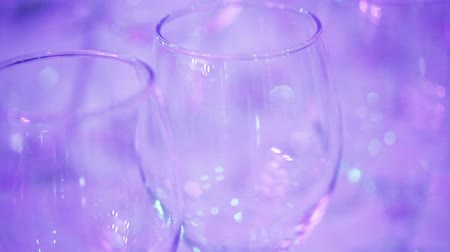 refocus : Several wine glasses on table