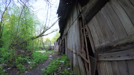 lebontották : Ruined house in the Donbass Stock mozgókép
